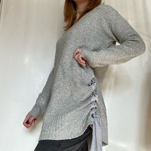 Free People Tunic Length Gray V Neck Lace Sweater